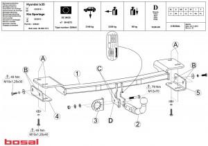 Фаркоп на Hyundai IX 35 (Bosal 4253-A) Без подрезки бампера