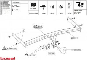 Фаркоп на Ford Transit без ступеньки (2000-2014) (Bosal 3982-F)