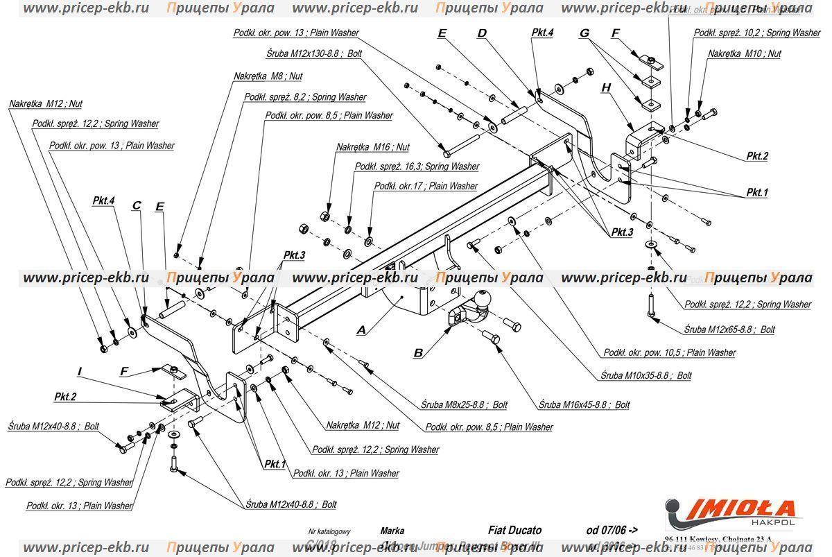 Фаркоп на Peugeot Boxer 3 VAN L1,L2,L3 (IMIOLA C.018) 2006 - настоящее время