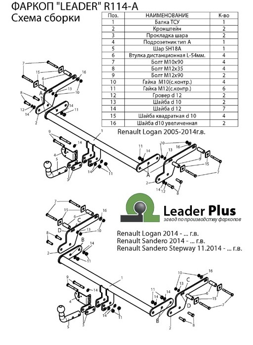 Фаркоп на Renault Logan ( 2005-2014), Logan (2014-), Sandero (2014-), Sandero Stepway (2014-), (Лидер-Плюс R114-A)