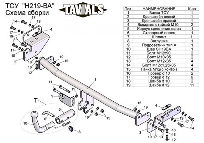Быстросъемный фаркоп TAVIALS на Hyundai Solaris седан, хэтчбек (2010-2017), Kia Rio III седан, хэтчбек (2011-2017) (Лидер-Плюс H219-BA)