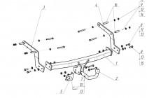 Фаркоп на Renault Sandero Stepway (2014-), Logan Stepway (2019-) (Bosal 1433-AN)