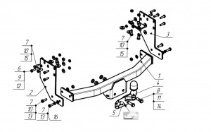 Фаркоп на Газель Sobol 2310 (шасси) (2003-) (Bosal 5615-F)