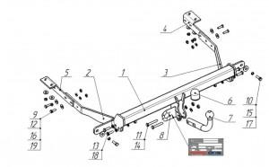 Фаркоп на Citroen Berlingo II L1,L2 длина базы 4380/4680 мм (2008-), Peugeot Partner L1,L2 длина базы 4380/4680 мм (2008-) (Bosal 2556-A)