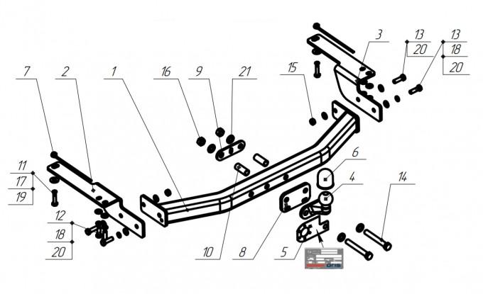 Фаркоп на Toyota Land Cruiser Prado 120 (2002-2009), Toyota Land Cruiser Prado 150 (2009-), Toyota 4runner (2002-2009) (Bosal 3016-F)