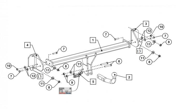 Фаркоп на BMW 2-Series Active Tourer (F45) (2014-), BMW 2-Series Grand Tourer (F46) (2015-), BMW X1 (F48) (2015-) (Bosal 4757-A)