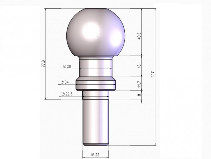 Шар фаркопа E цинк (резьба 22 мм)  Лидер-Плюс