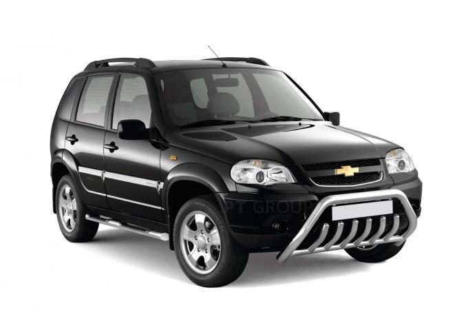 """Рейлинги """"Усиленные"""" на Chevrolet NIVA с 2002 (Черный муар)"""