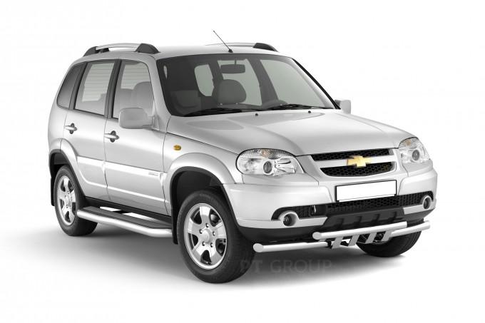 "Рейлинги ""Усиленные"" на Chevrolet NIVA с 2002 (Серебристый муар)"