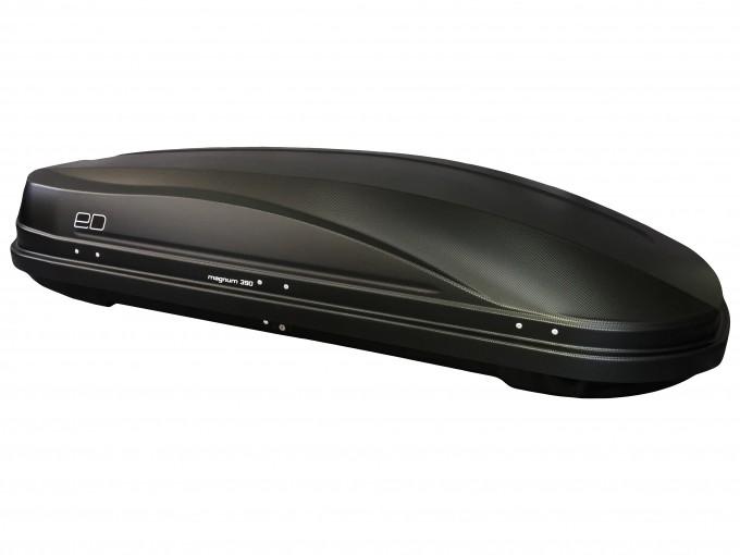 """Автомобильный Бокс на крышу Евродеталь """"Магнум 390"""" (390 литров, черный карбон) двухстороннее открывание"""