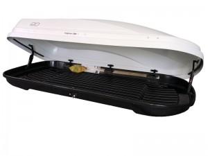 """Автомобильный Бокс на крышу Евродеталь """"Магнум 390"""" (390 литров, белый карбон) двухстороннее открывание"""