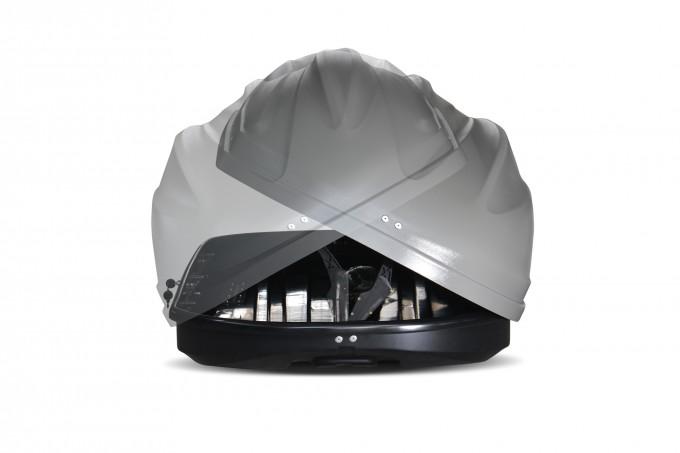"""Автомобильный Бокс на крышу """"Turino 1"""" (410 литров, серый) двухстороннее открывание"""